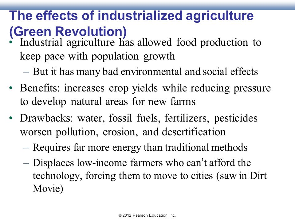 environmental effects of organic vs industrial Sustainable vs industrial (continued)  environment sustainable farmers protect the environment by managing their farms in a responsible manner, maintaining the fertility  cover crops, and continual addition of organic matter efforts are currently in progress to perfect no-tillage techniques.