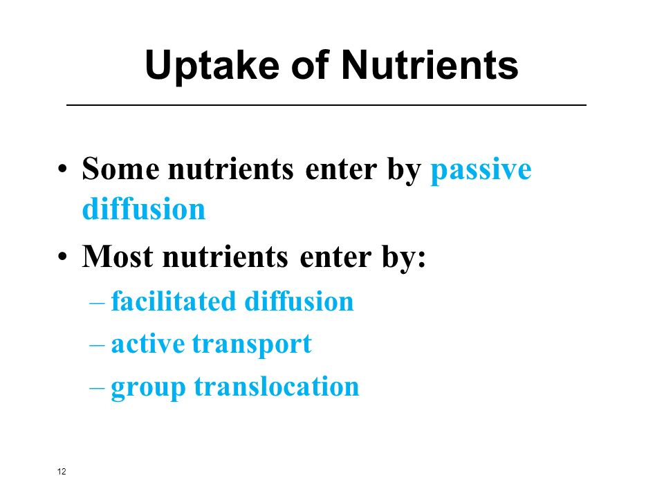 Uptake of Nutrients Some nutrients enter by passive diffusion