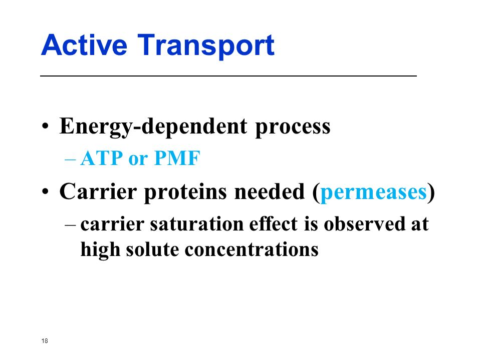 Active Transport Energy-dependent process