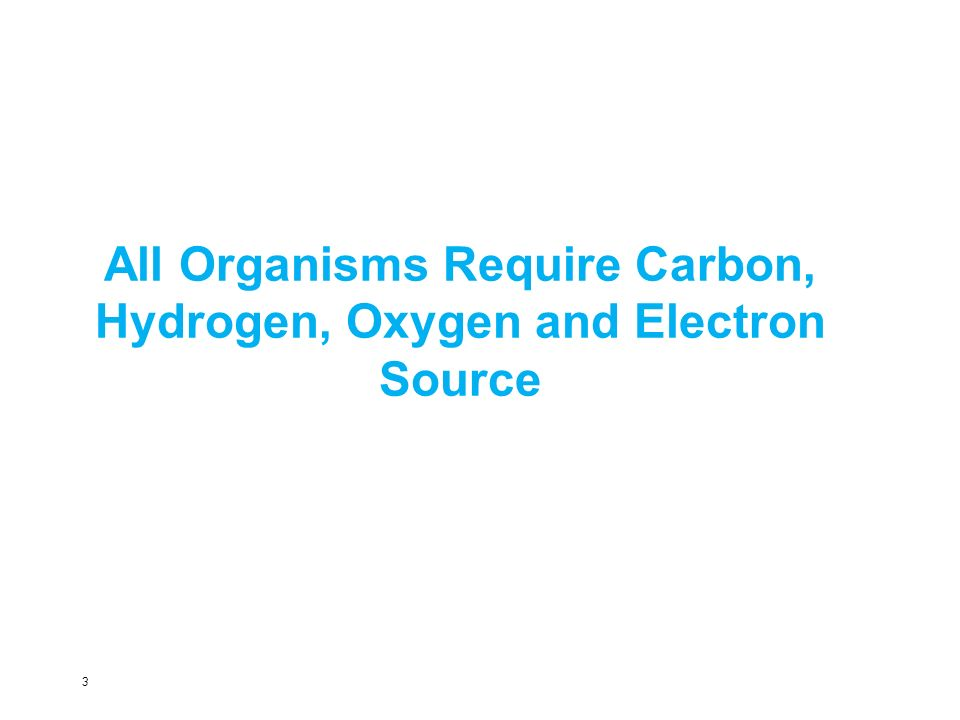 All Organisms Require Carbon, Hydrogen, Oxygen and Electron Source