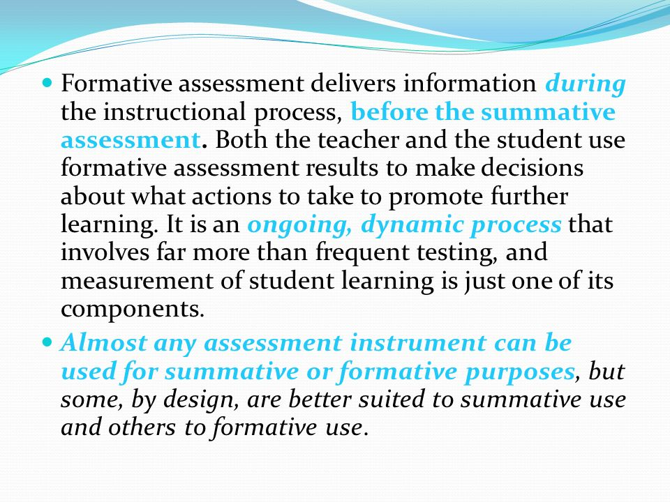 summative assessment design and results More than 220 colleges and universities have agreed to use results of the high school summative assessments as evidence of student readiness for entry-level, credit-bearing courses learn.
