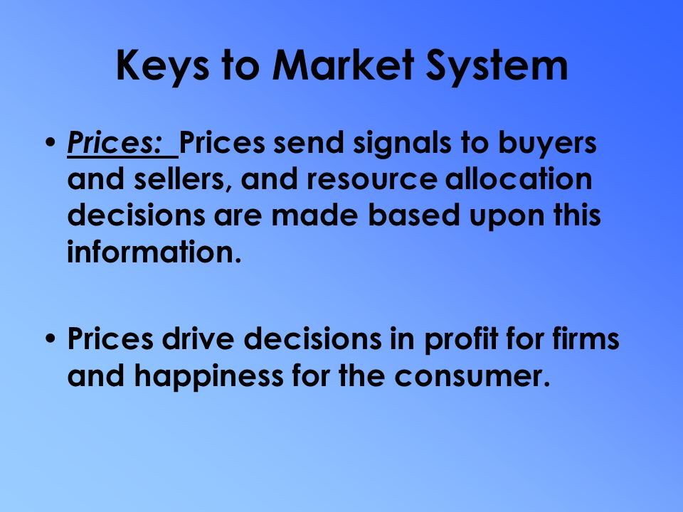 free market systems of resource allocation All of these fields emphasize the importance in actually existing market systems of rule  free market has been  natural allocation of.