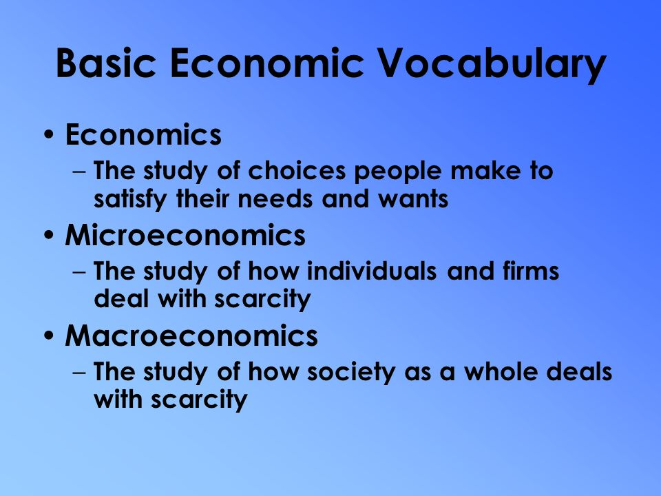 Basic assumptions of economics