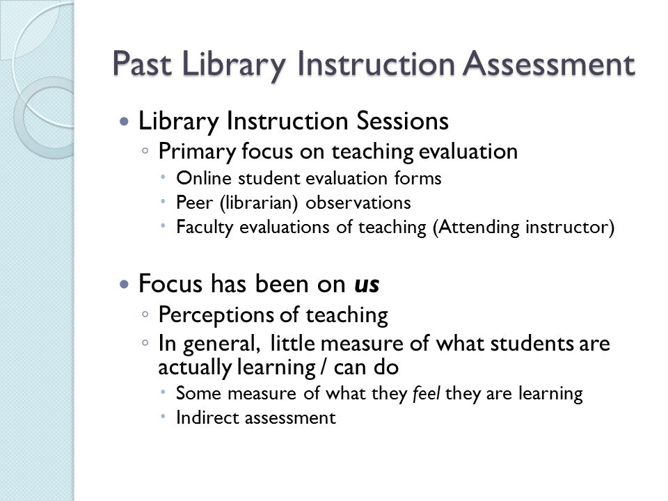 Assessment Of Library Instruction - Ppt Video Online Download