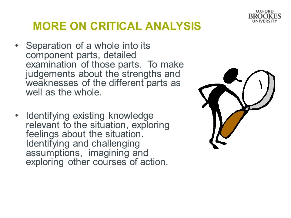 MORE ON CRITICAL ANALYSIS