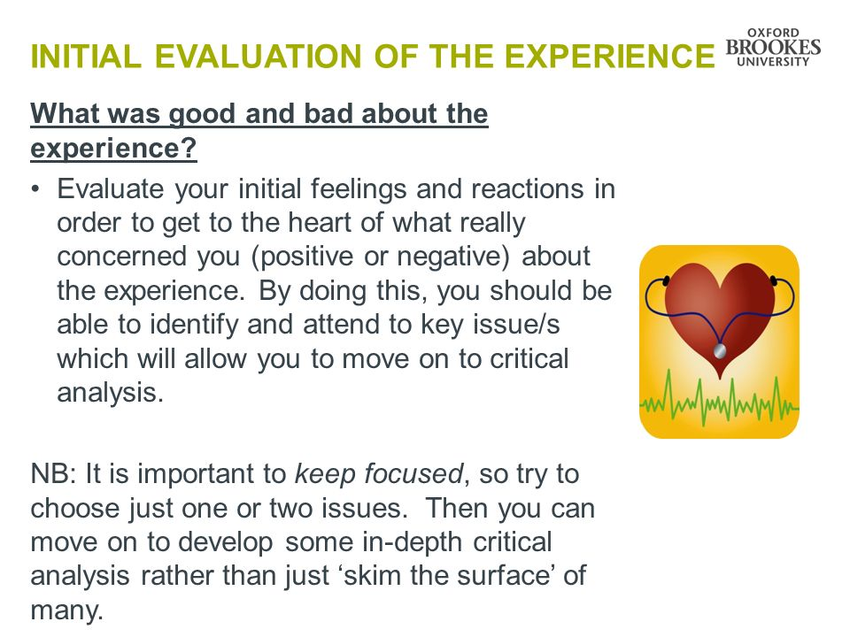 INITIAL EVALUATION OF THE EXPERIENCE