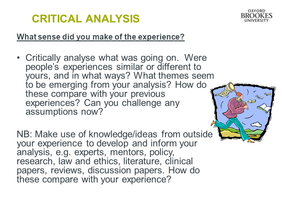 CRITICAL ANALYSIS What sense did you make of the experience