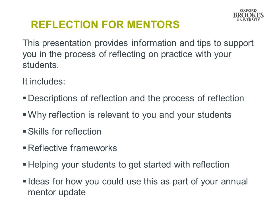 "reflection on mentoring a student ""collective reflection: voices from the mentoring process • so by reflection included as part of the student-teacher's portfolio."