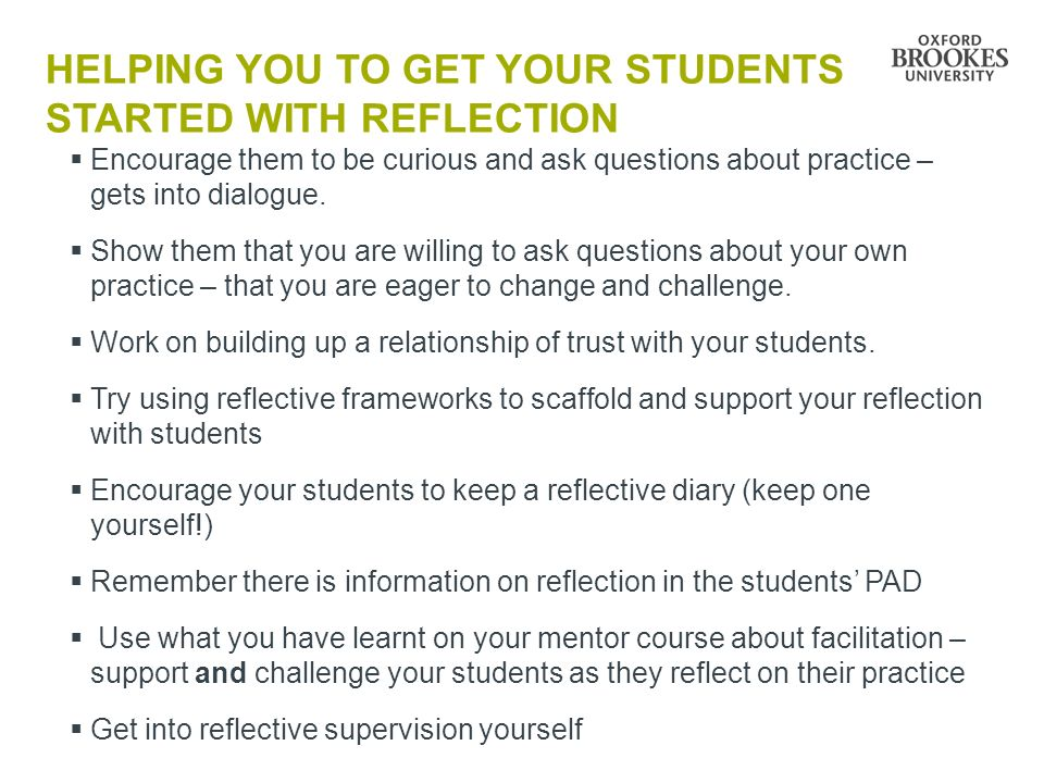 Helping you to get your students STARTED WITH reflection
