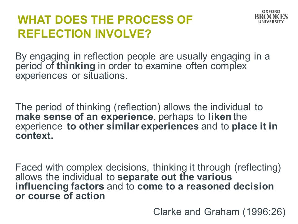 WHAT does the process of REFLECTION involve