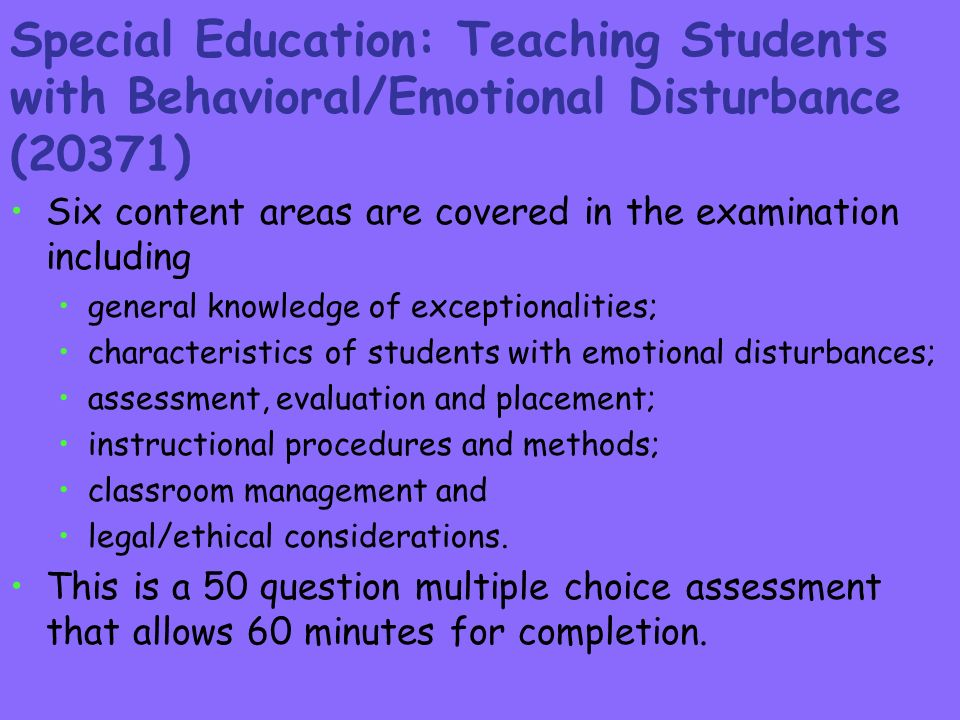 Emotionally Disturbed Students At >> Specially Designed Instruction For Emotional Disturbance In