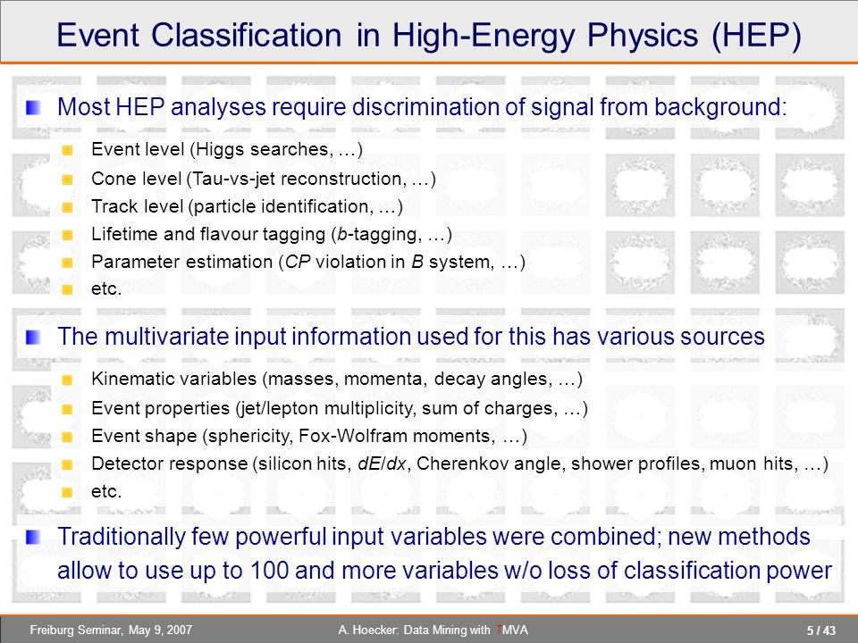 Event Classification in High-Energy Physics (HEP)