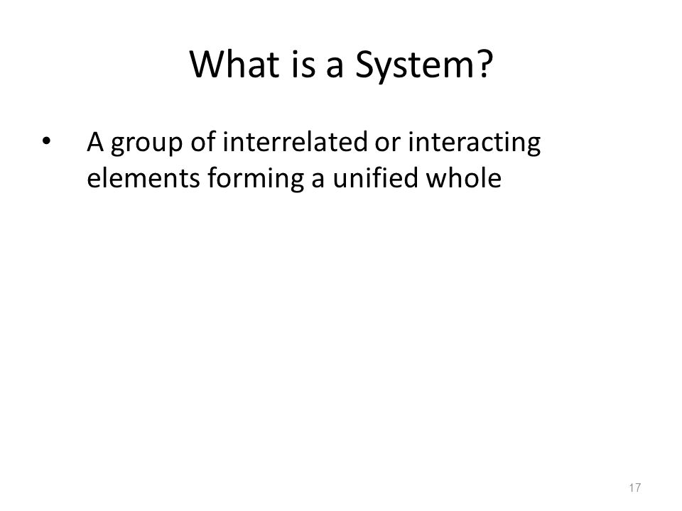 What is a System A group of interrelated or interacting elements forming a unified whole