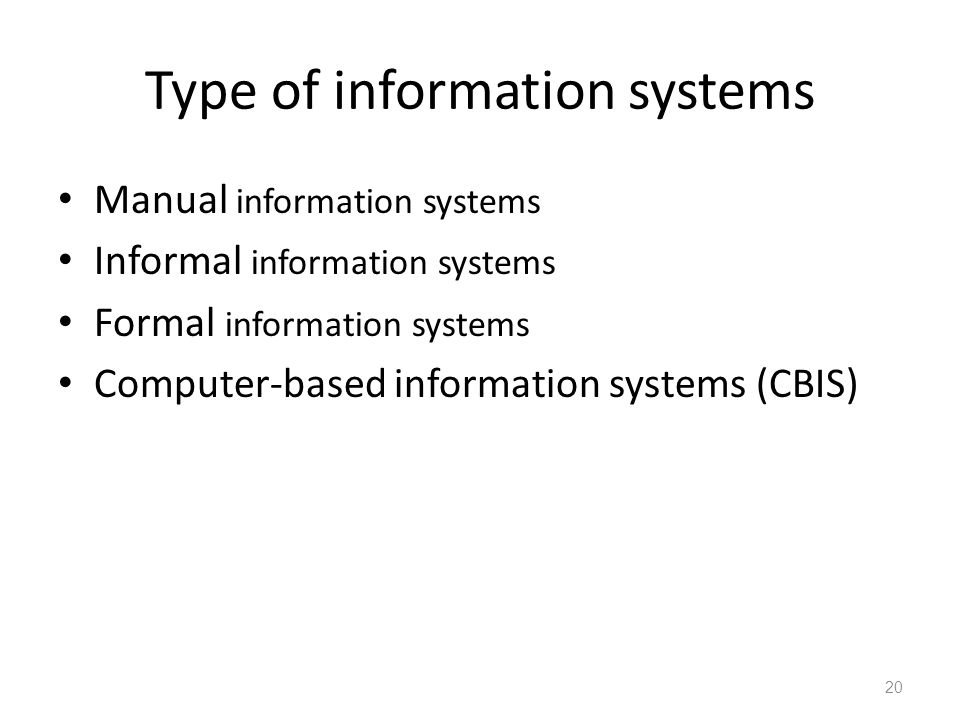 Type of information systems