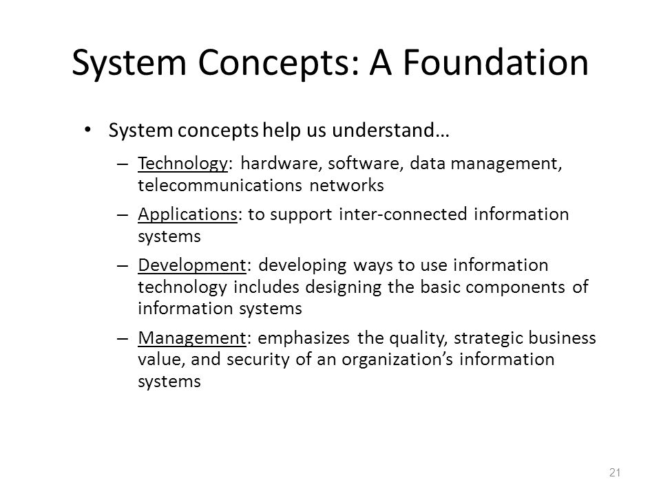 System Concepts: A Foundation