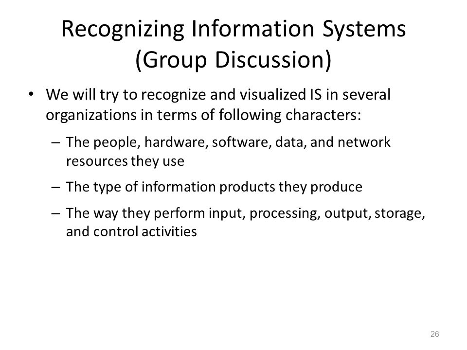 Recognizing Information Systems (Group Discussion)