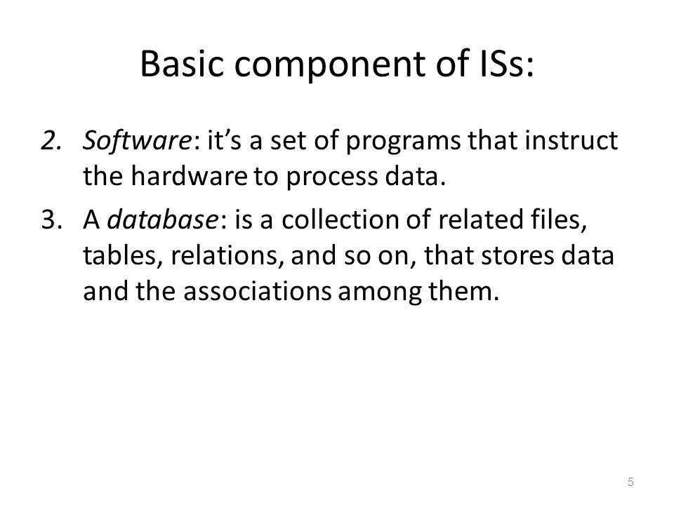 Basic component of ISs: