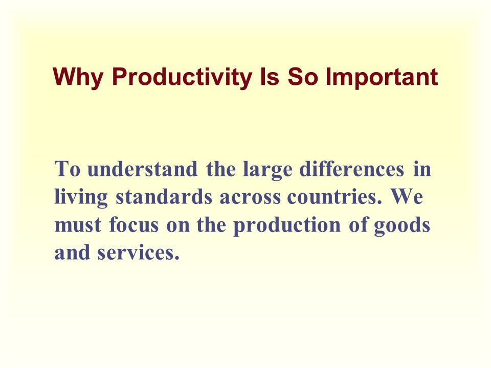 Why Productivity Is So Important