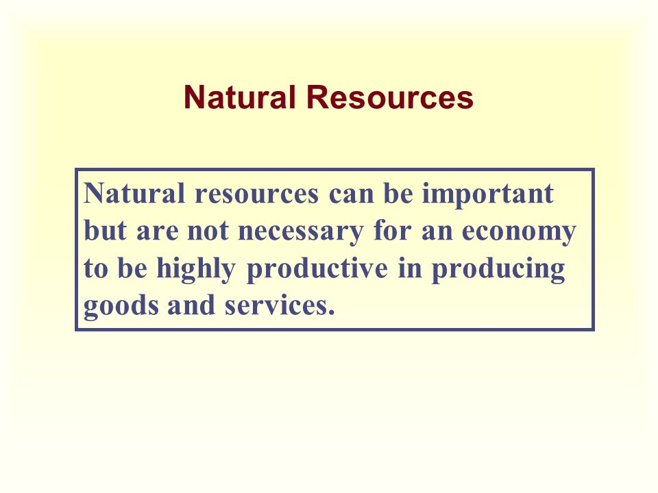 Natural Resources Natural resources can be important but are not necessary for an economy to be highly productive in producing goods and services.