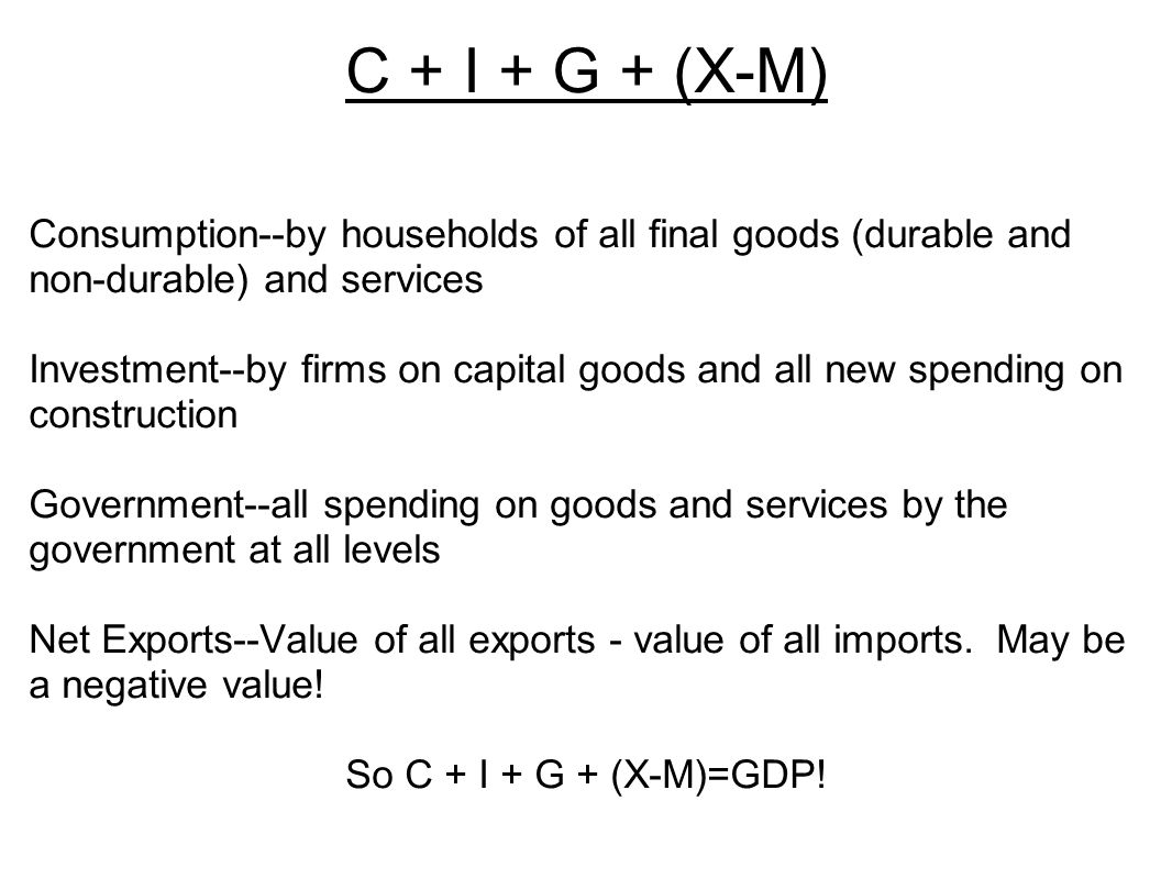 C + I + G + (X-M) Consumption--by households of all final goods (durable and non-durable) and services.