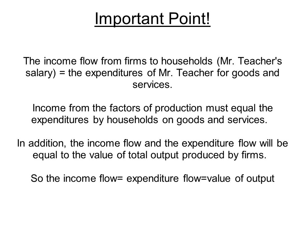 So the income flow= expenditure flow=value of output