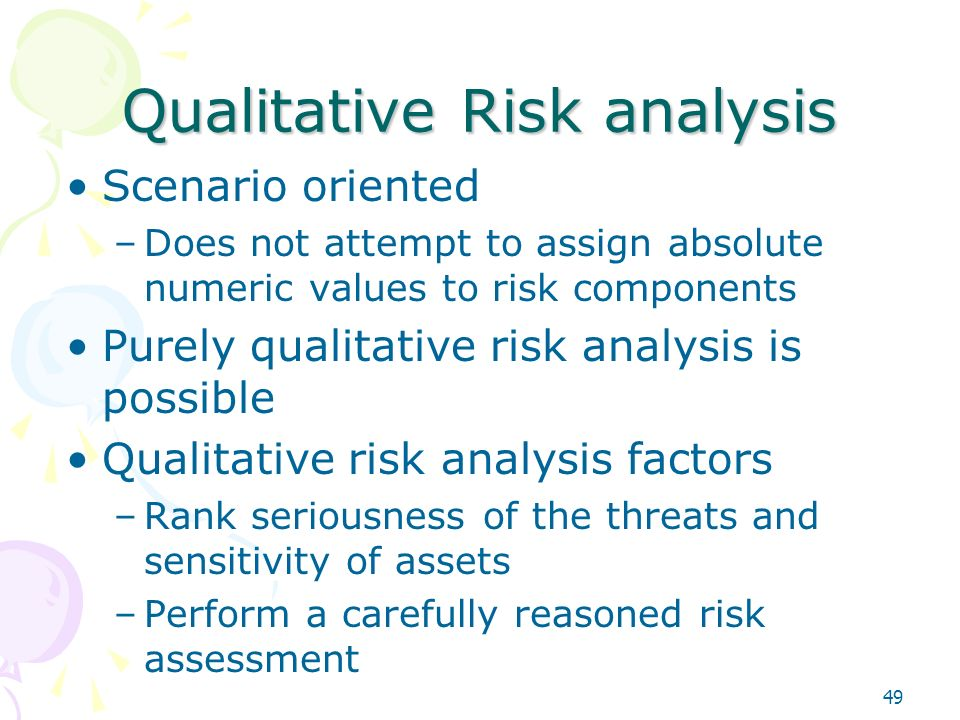 qualitative risk analysis Before we get into the difference between quantitative and qualitative risk analysis, it is mandatory we understand how risk analysis is performed in projectswe perform a risk analysis on a list of risks which are identified in the identify risks process.