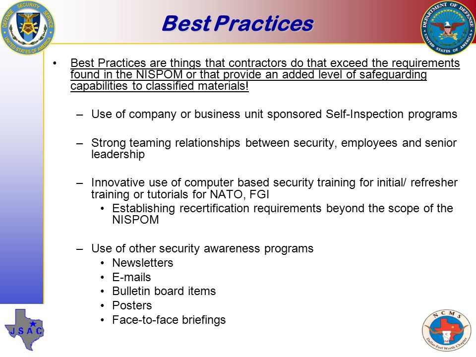 Self Inspection And The Dss Security Review Process Ppt