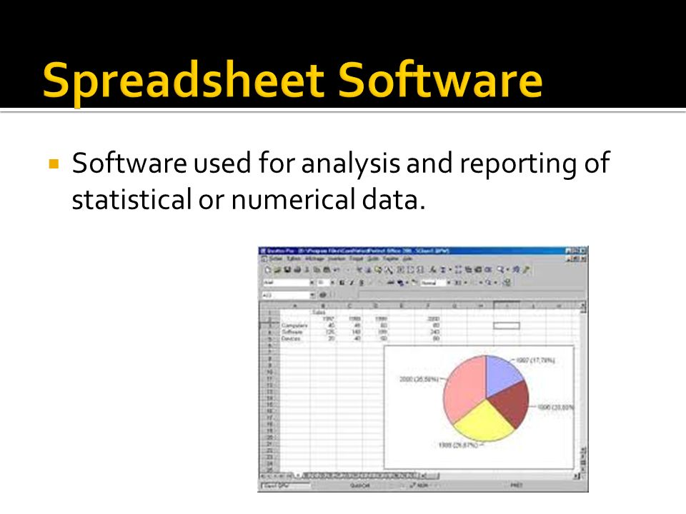 Spreadsheet Software Software used for analysis and reporting of statistical or numerical data.