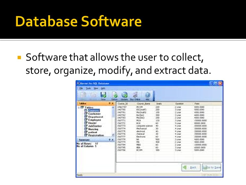 Database Software Software that allows the user to collect, store, organize, modify, and extract data.