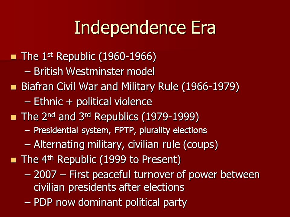 Independence Era The 1st Republic ( )