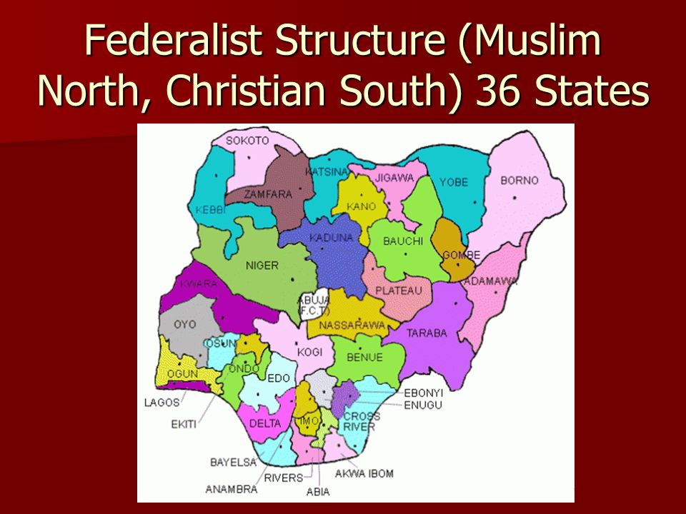 Federalist Structure (Muslim North, Christian South) 36 States