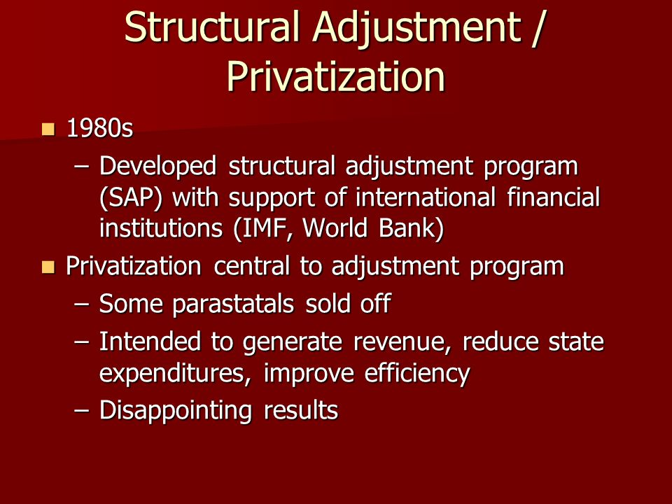 the effects of structural adjustment programs On the 25th anniversary of the world bank structural adjustment program  structural adjustment's saps have had distinct harmful effects on the.