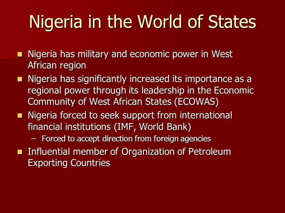 Nigeria in the World of States