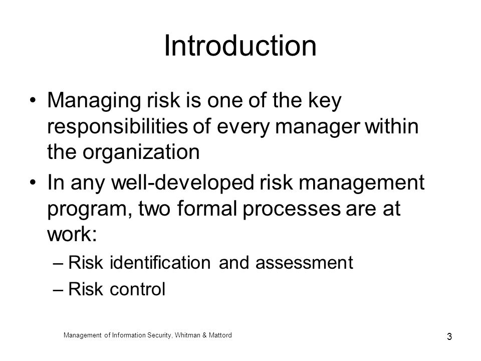 the role and importance of risk management in an organization Management & compliance in organizations, sponsored by rsa, the security division of emc the focus of this research is to examine the challenges global organizations face in meeting escalating enterprise governance, risk and compliance (egrc) objectives.