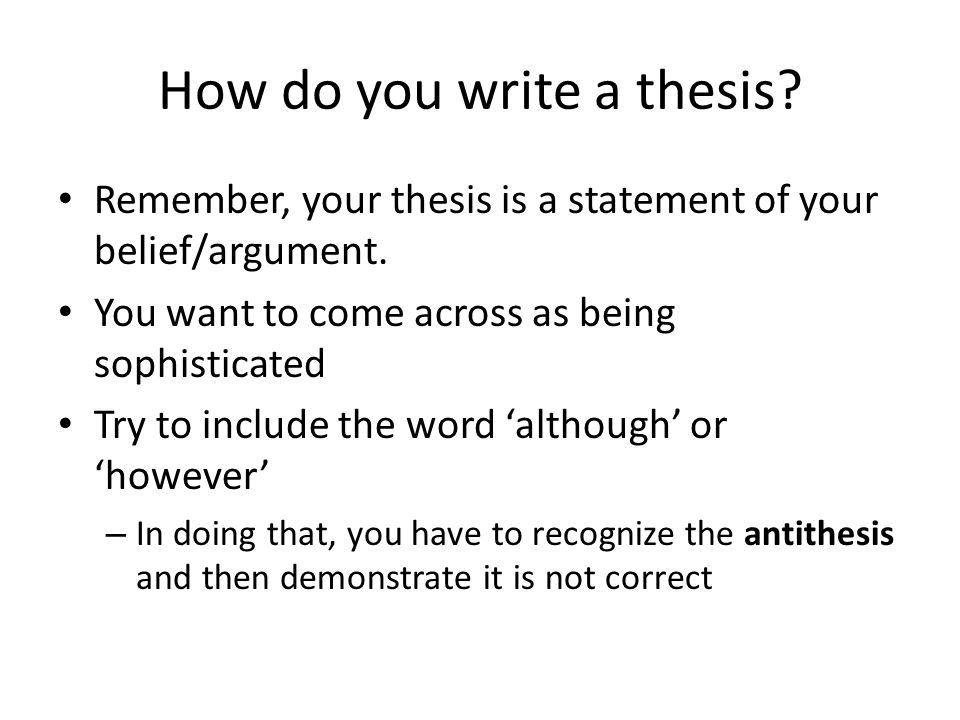 how do you make a thesis statement A thesis statement controls the subject matter of the essay and states  it is important to create a thesis statement before writing the paper, but this type of thesis.
