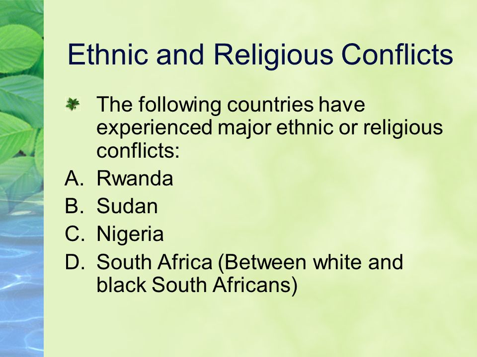 ethnic and religious conflict in nigeria essay This blend and acceptance of religion survives in modern times and has  mitigated some religious conflict in places where yoruba form the.