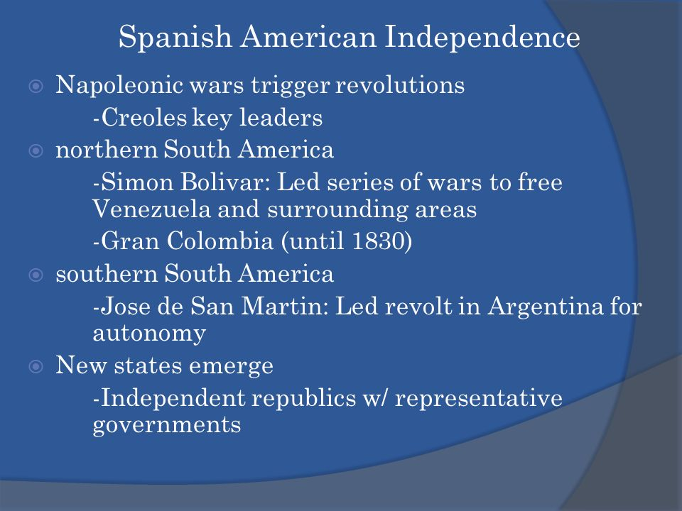 how political independence affects the creole class in venezuela The venezuelan war of independence was a series of conflicts between 1810 and 1823 between spain and venezuela and to some extent also other countries such as britain, haiti and at some stages new granada (modern-day ecuador, colombia, panama and guyana.
