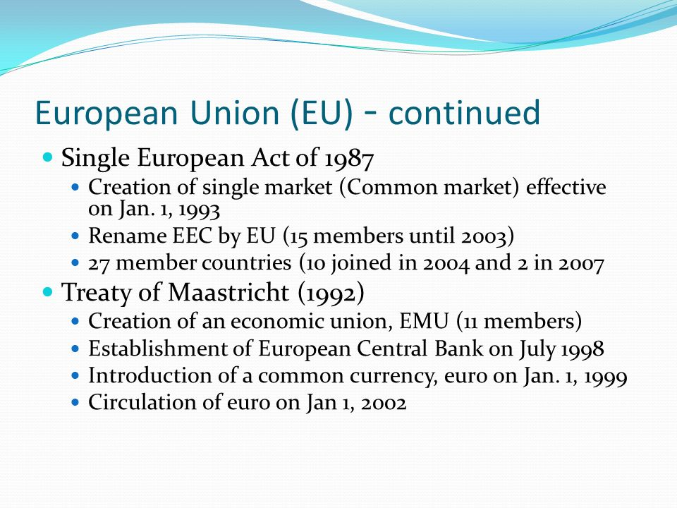 an introduction to the eec treaty The treaty of maastricht changed the official denomination of the eec  the introduction of an european currency,  treaty of maastricht | treaty of amsterdam.
