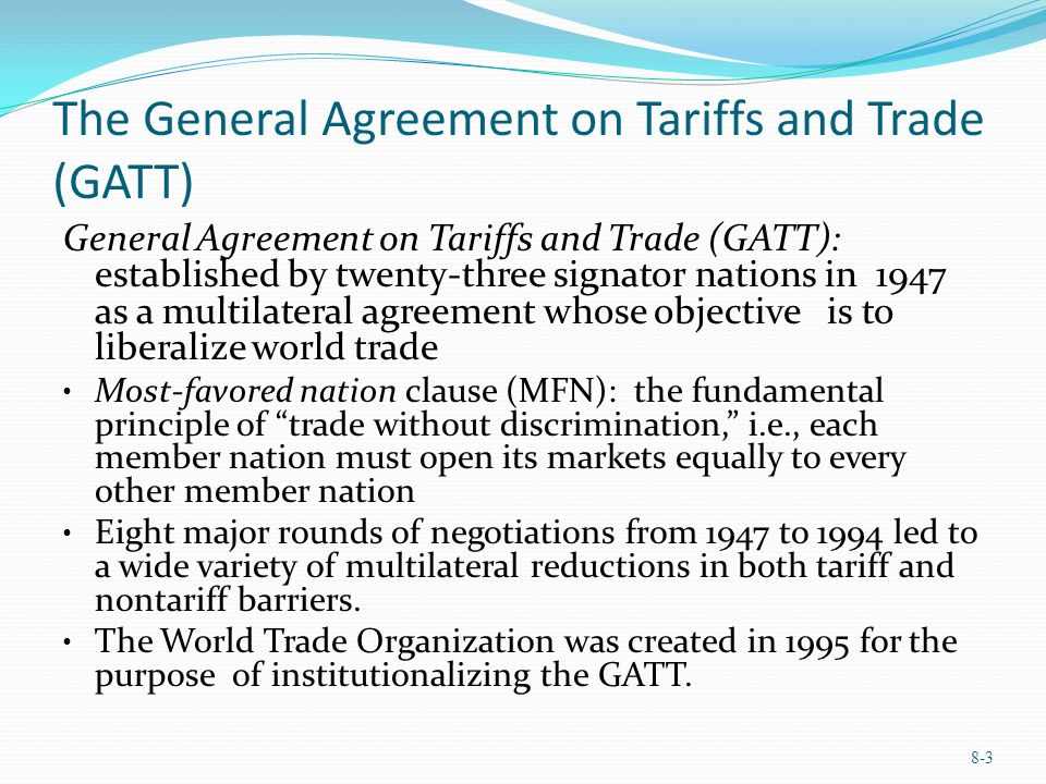 a history of the creation of general agreement on tariffs and trade