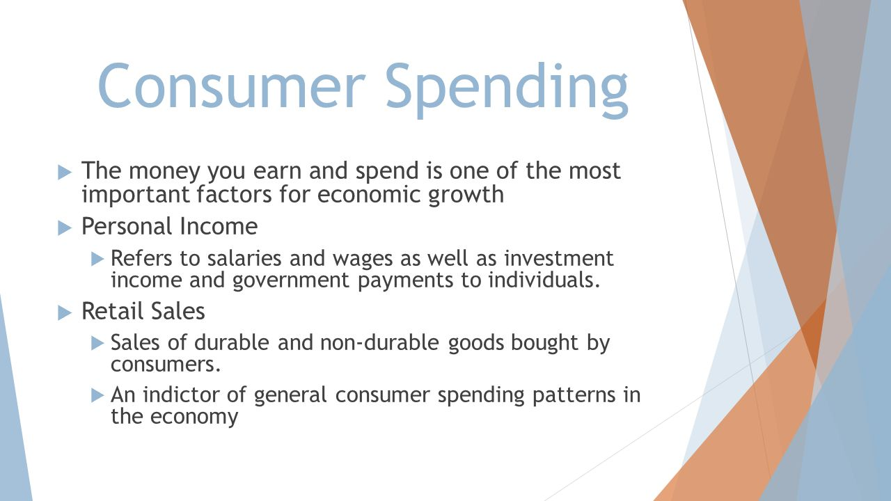Consumer Spending The money you earn and spend is one of the most important factors for economic growth.