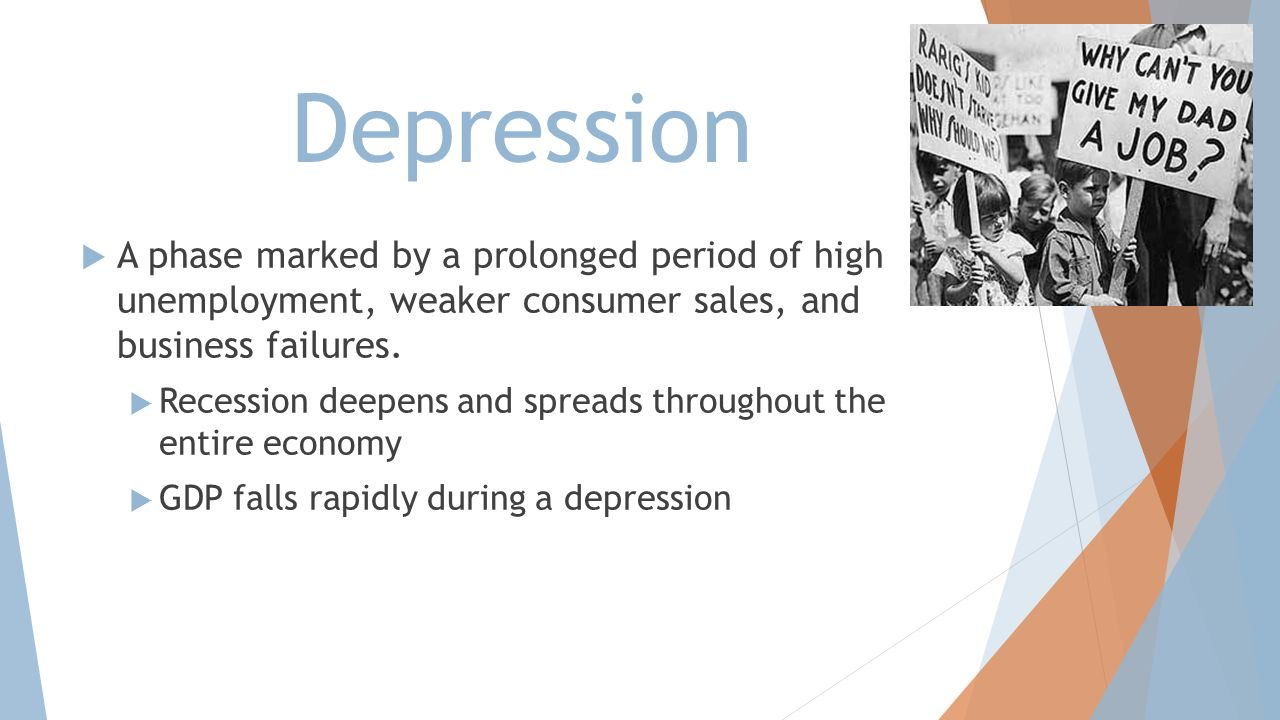 Depression A phase marked by a prolonged period of high unemployment, weaker consumer sales, and business failures.