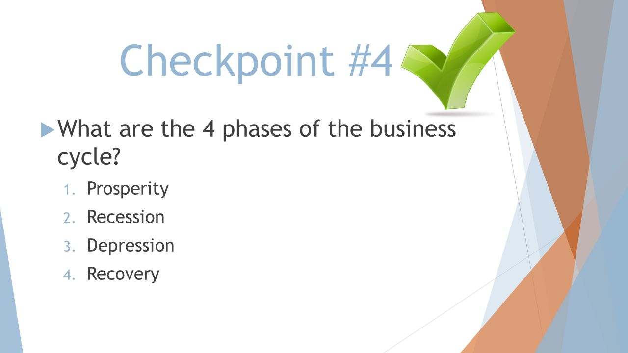 Checkpoint #4 What are the 4 phases of the business cycle Prosperity