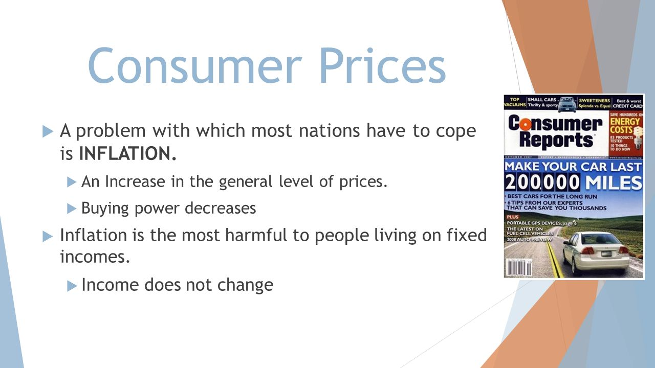Consumer Prices A problem with which most nations have to cope is INFLATION. An Increase in the general level of prices.