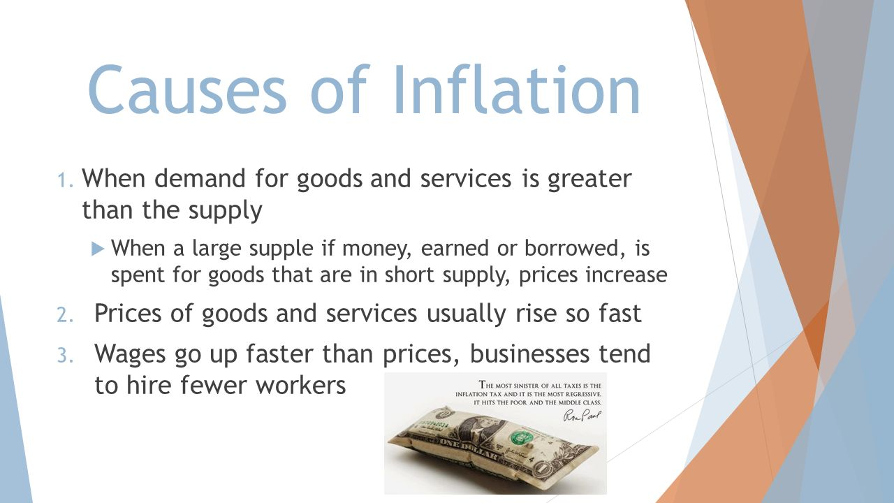 Causes of Inflation When demand for goods and services is greater than the supply.