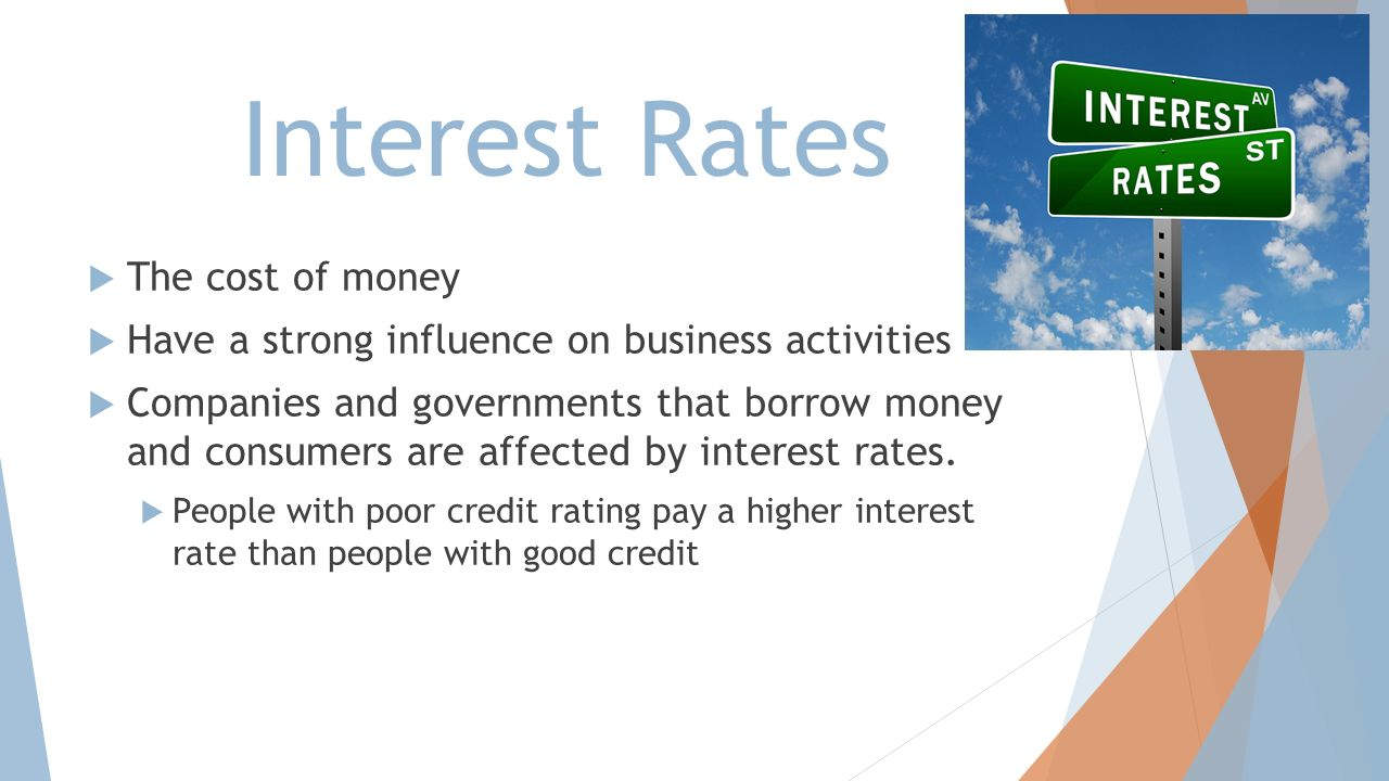 Interest Rates The cost of money