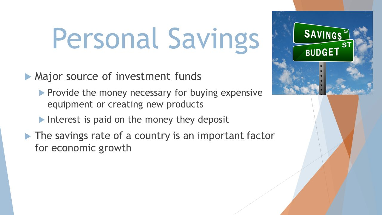 Personal Savings Major source of investment funds