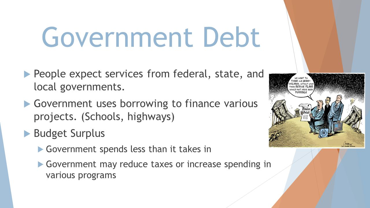 Government Debt People expect services from federal, state, and local governments.