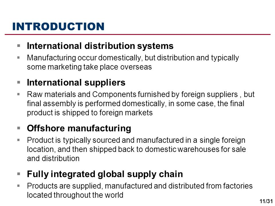 INTRODUCTION International distribution systems