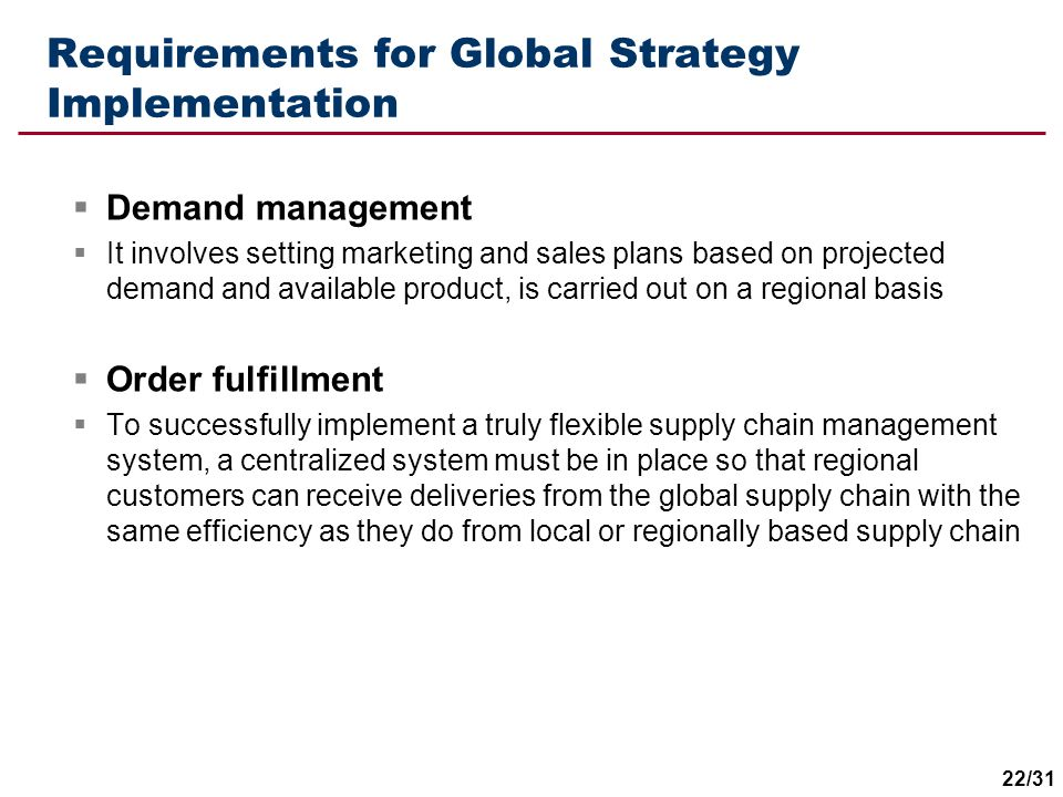 Requirements for Global Strategy Implementation