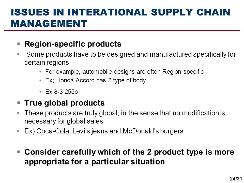ISSUES IN INTERATIONAL SUPPLY CHAIN MANAGEMENT